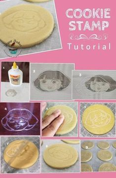 Dora Cookie Stamp Cookies This cookie tutorial shows you how to make your own stamped Dora the Expolorer cookies. But not only does it show you how to make the cutest party food for your Dora party,it actually shows you how… Fondant Cookies, Galletas Cookies, Sugar Cookies Recipe, Cookie Recipes, Cupcake Cakes, Cupcakes, Cookie Tips, Cookie Ideas, Edible Crafts