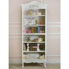 White Shabby Chic Cottage Bella Rose Bookcase With Fancy Legs