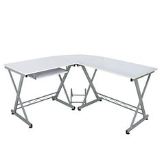 Zeny LShape Computer Desk PC Laptop Table Workstation Corner Home Office White >>> Click image to review more details.Note:It is affiliate link to Amazon.