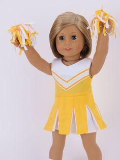 Trendy Dolls - Yellow Cheer Uniform fits 18 inch American Girl Dolls, $10.00 (http://www.mytrendydoll.com/dancewear-and-sportswear/yellow-cheer-uniform-fits-18-inch-american-girl-dolls/)