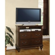 Sidney Media Chest with Two Large Drawers and Spacious Opening