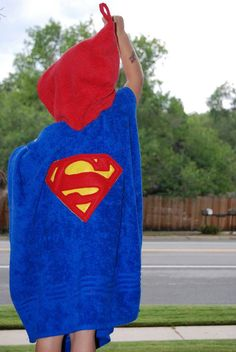 Poncho towel, hooded towel, bath towel, cover up, swimming towel, Super hero towel, Super man towel, It can be personalized for extra fee