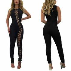 Front Lace up Hollow Out Bandage Women Jumpsuits Club Hot Women Rompers #Affiliate