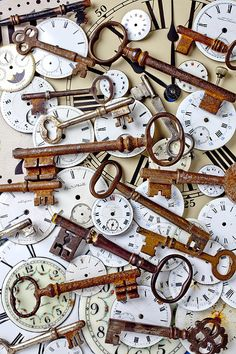 Old Keys and Watch Dials by Garry Gay/