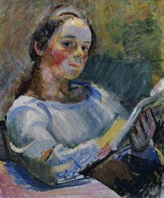 Franz Wiegele, Lesendes Mädchen, um 1920, Öl auf Leinwand, 55,5 x 46 cm, Belvedere, Wien, Inv.-Nr. 4014 Canvas Paper, Oil On Canvas, Canvas Prints, Klimt, Modern Artists, Canvas Material, Art Reproductions, Artist Art, Painted Canvas