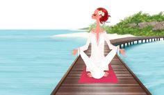 Adrian Valencia / Girl Meditating On Pier At The Beach
