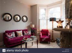 Raspberry Velvet Sofa
