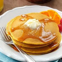 Pumpkin Pancakes Recipe - Pretty good pancakes, I didn't try the syrup though.  I ended up making a cream cheese frosting using cream cheese, powdered sugar, pumpkin puree, and pumpkin pie spice!! Then after I put this on the pancakes I added a drizzle of maple syrup! So good!
