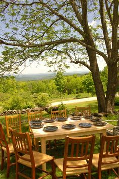 Miranda Thomas Plates on a Naked Table on our hill in Bridgewater, Vermont.