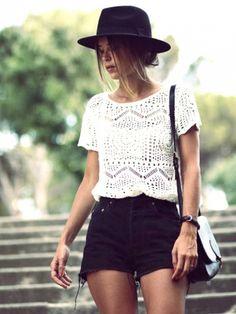 Lace Top & Black Cut Of Shorts {Brit & Co) http://www.whowhatwear.com/pinterest-summer-fashion-outfits?utm_content=bufferae52a&utm_medium=social&utm_source=pinterest.com&utm_campaign=buffer