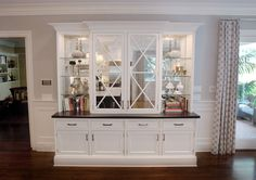 Double X-mullion door hutch with antique mirror