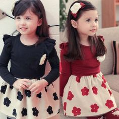 Winter Child Girls Sweet Dress Flower Necklace Long Sleeves Skirt Black Red #Unbranded #Pageant