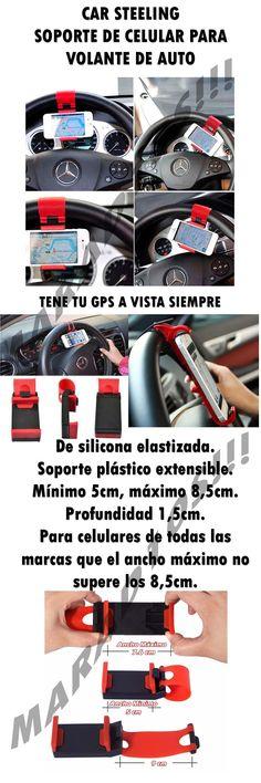 Soporte P/volante Auto Universal Silicona Gps-celular-iphone - $ 39,90