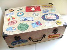 Keepsake box, wedding card box, vintage luggage labels #maineteam #dabhands