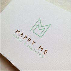 MARRY ME // logo // wedding // initialen // M & M // mosstudio // invitation // trouw // goudfolie // strak // eenvoud Marry Me, Logos, Save The Date, Wedding Inspiration, Coding, Invitations, Graphic Design, Cards, Lisa