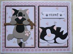 Cat Cards, Kids Cards, Marianne Design Cards, Kids Birthday Cards, Cricut Cards, Cat Pattern, Cute Diys, Punch Art, Paper Piecing
