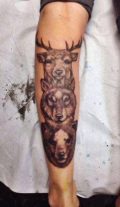 Tattoo - Deer - Wolf - Bear - Animal - Face - Totem