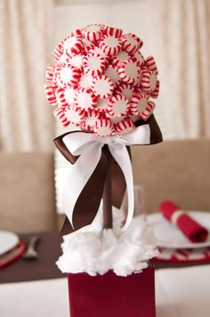 Peppermint topiary - styrofoam ball and base, dowel, gift box, peppermints, hot glue, ribbon