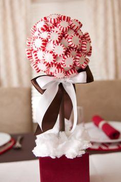 Peppermint topiary - styrofoam ball and base, dowel, gift box, peppermints, hot glue, ribbon