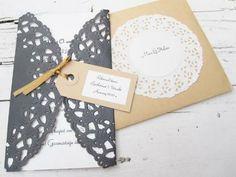 DIY wedding invitation, made with doilies
