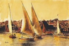 Watercolour by Anne Connel called Egyptian Falukas . an image to take you away. Sailing Boat, Sailing Ships, Art Prints For Sale, Egyptian, Watercolour, Giclee Print, Picture Frames, Original Art, Canvas Art