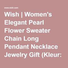 Wish | Women's Elegant Pearl Flower Sweater Chain Long Pendant Necklace Jewelry Gift (Kleur: Goud)