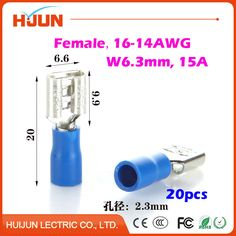 20 unids/lote 6.3 enchufe del Cable de Empalme de Cable de Aislamiento FDD2-250 Azul Hembra de Desconexión Rápida Conector de Terminal 1.5-2.5mm2 16-14AWG