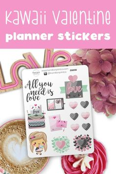 Kawaii decorative planner stickers. Cute love themed planner stickers to decorate your bullet journal, happy planner, or hobonichi! #planner #stickers #ideas #decorating #DIY #happy #life #aesthetic #inspiration #passion #cute #holiday #hobonichi #sticker #kit #bullet #journal #bujo #icons Time Planner, Happy Planner, Handwritten Text, Planner Supplies, Small Shops, Day Planners, Happy Mail, Bullet Journals, Erin Condren