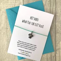 Sea Turtle Wish Bracelet - Hey Dude by Looks Inviting with Free UK Delivery Cheer Up Gifts, Gifts For Mum, Wish Bracelets, Handmade Bracelets, Turtle Gifts, Turtle Jewelry, Cute Turtles, Baby Bracelet, Hey Dude
