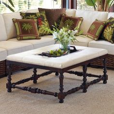 """Jacoby Ottoman  Jacoby Upholstered Bench (61753): 49""""W x 36""""D x 22""""H, 45 lbs.  Tray: 26-1/2""""L x 13-1/2""""W x 2-3/4""""D.  Tudor aesthetic fits into a traditional or transitional setting  Solid, kiln-dried beechwood frame reinforced with double-dowels and corner blocks  Premium foam cushion provides superior comfort and support    TRAY IS REMOVABLE"""