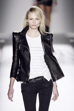 Natasha #Poly in #Balmain leather jacket. Sharp shoulders