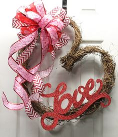 LOVE Heart Valentine Wreath by southernchicbyle on Etsy, $40.00