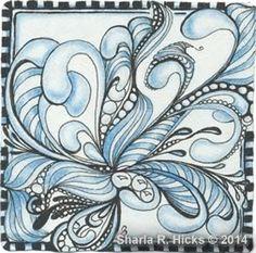 Mooka Blues by Sharla Hicks, Certfied Zentangle Teacher, CZT, Copyright 2014