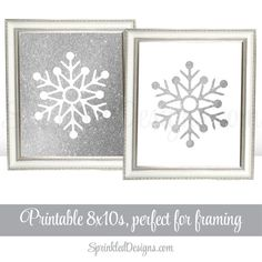 Printable Winter Onederland Birthday Decorations - Snowflake Signs 8x10 Art Prints - White Silver Glitter Christmas Decor - Holiday Wall Art by SprinkledDesign on Etsy