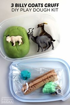 DIY Three Billy Goats Gruff Play Dough Kit for Kids - Perfect for Preschool Homeschool or Just for FUN! - at B-Inspired Mama