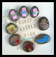 Three pigs story stones