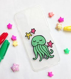 Hand painted Jellyfish phone cases - iPhone 6 case - iPhone 6s case - iPhone 5s case - Samsung Galaxy S6 Case - Samsung Galaxy S7 Edge Case