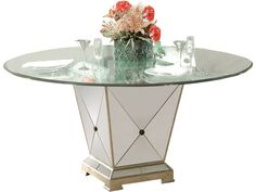 Bassett Mirror Hollywood Glam Borghese Dining Pedestal Table - Hudson's Furniture - Kitchen Tables