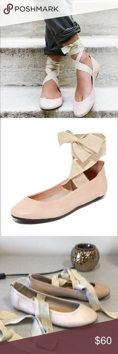 NEW Free People Lace Up Ballerinas New never worn Free People baller flats in pinky nice color with canvas that wraps up the leg. It is a size 37 or 7 American with round toe and long canvas that can wrap all up the leg. Free People Shoes Flats & Loafers