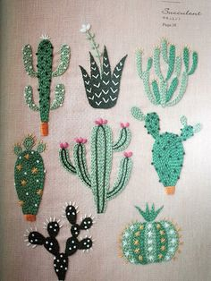 DIY Floral & Cactus Embroidery Projects from A Year of Embroidery by Yumiko Higu. - DIY Floral & Cactus Embroidery Projects from A Year of Embroidery by Yumiko Higuchi Embroidery Designs, Cactus Embroidery, Embroidery Flowers Pattern, Japanese Embroidery, Hand Embroidery Stitches, Crewel Embroidery, Embroidery Techniques, Ribbon Embroidery, Cross Stitch Embroidery