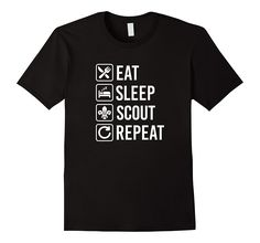 Eat Sleep Scout Repeat Funny T-Shirt Boy Scouting-TH
