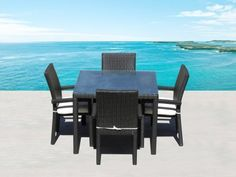 """Outdoor Patio Wicker Furniture New Resin 5 Pc Square Dining Table & Chairs Set by Cassona Outdoor living. $999.00. - Why spend so much on retail? Save a lot with our Factory Direct Price. - Hand woven with Top Quality UV Environmentally friendly HDPE Resin Wicker. - Powder coated aluminum frame, Seating Strap Support System & Premium Quality Foam Cushions & zippered covers. - Weather Proof Espresso 5 Pc Dining Set includes 1pc 40x40"""" table with glass top and 4 Arm chairs. - C..."""