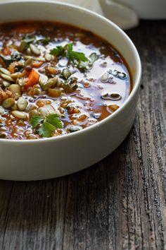 Quinoa Lentil Vegetable Soup via edible perspective #healthy #clean