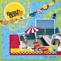 Blank Scrapbooking Travel Layouts | Digital - Outdoor & Travel: Cheerful Tropical Digital Scrapbook Layout