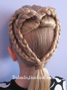 2 Braided Hearts ~ Good Pictures and Instructions - this is so cute; and an awesome hairstyle for girls' to wear on Valentine's day! ♥