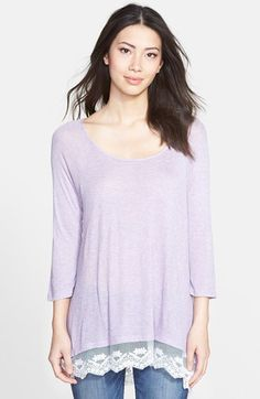 Bobeau Lace Hem Elbow Sleeve Top | Nordstrom