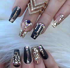 Black + gold nails + Swarovski Gorgeous #moon