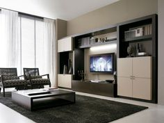 beige walls+ dark brown cabinets + patterend furniture fabric. great coffee table