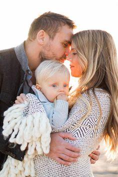 Winter beach family photos in California