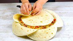 Lege 7 Tortillas SO in die Pfanne und warte 40 Min. Chicken Fajita Recipe, Chicken Fajitas, Chicken Recipes, Mexican Dishes, Mexican Food Recipes, Wrap Recipes, Dinner Recipes, Cheddar, Tortilla Pan